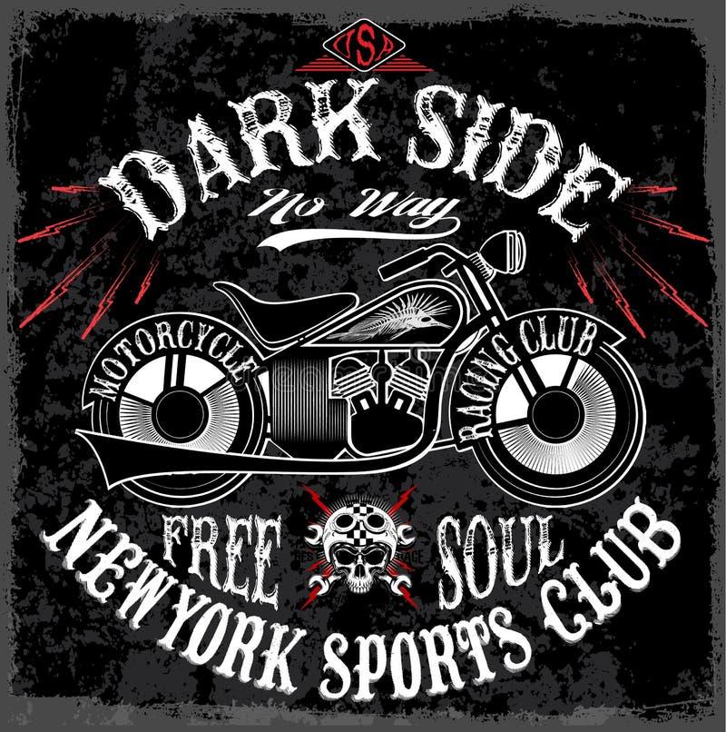 T-tröjatrycket med motorcykeln på mörk bakgrund och grunge smsar vektor illustrationer