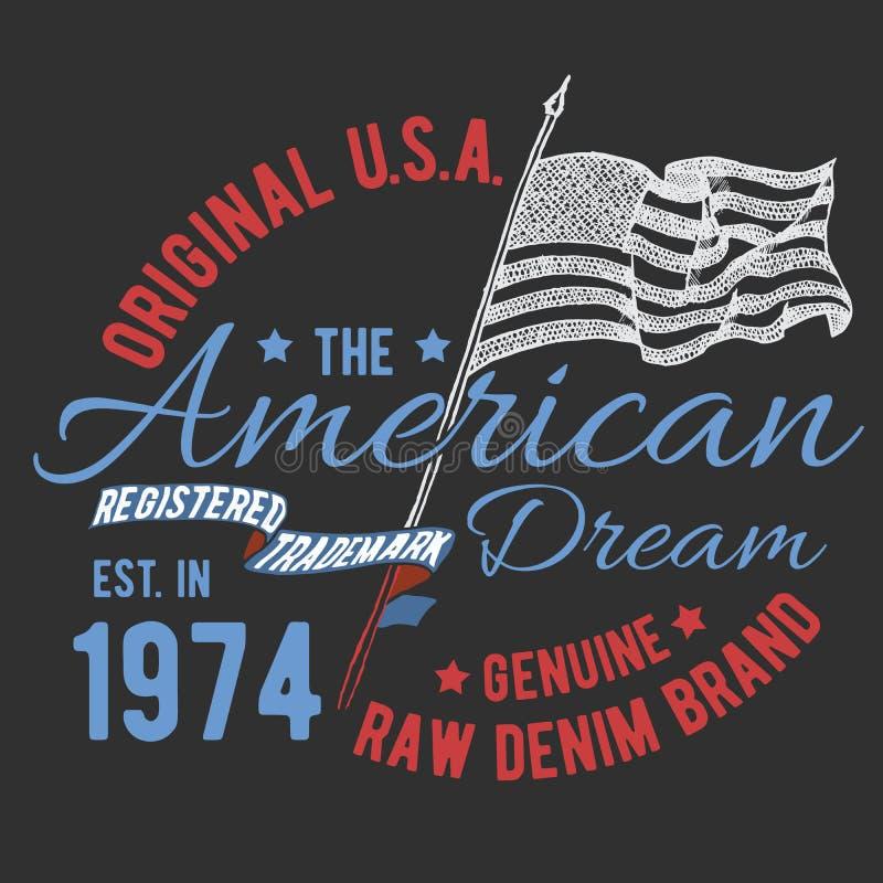 T-tröjatypografidesign, USA printingdiagram, typografisk amerikansk vektorillustration, Förenta staterna grafisk design för etike royaltyfri illustrationer