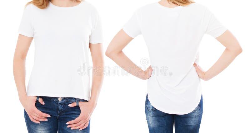T-tr?jadesign och folkbegrepp - slut upp av t-skjortan f?r blanko f?r ung kvinna den vita, isolerad skjorta fr?mre och bakre ?tl? royaltyfri foto