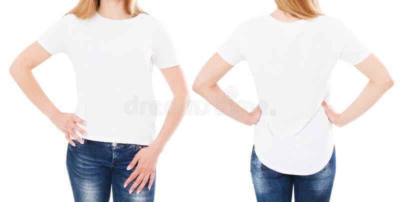 T-tr?jadesign och folkbegrepp - slut upp av t-skjortan f?r blanko f?r ung kvinna den vita, isolerad skjorta fr?mre och bakre ?tl? royaltyfri bild