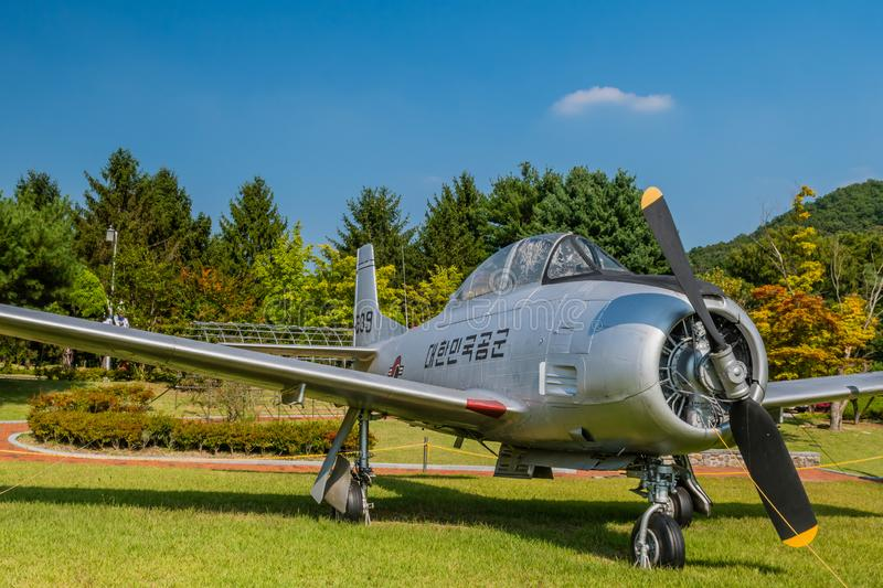 T-28A Trojan military aircraft. Daejeon, South Korea; September 29, 2019: North American Aviation T-28A Trojan military training aircraft on display at National royalty free stock photography