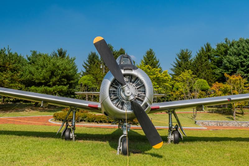 T-28A Trojan military aircraft. Daejeon, South Korea; September 29, 2019: North American Aviation T-28A Trojan military training aircraft on display at National royalty free stock image