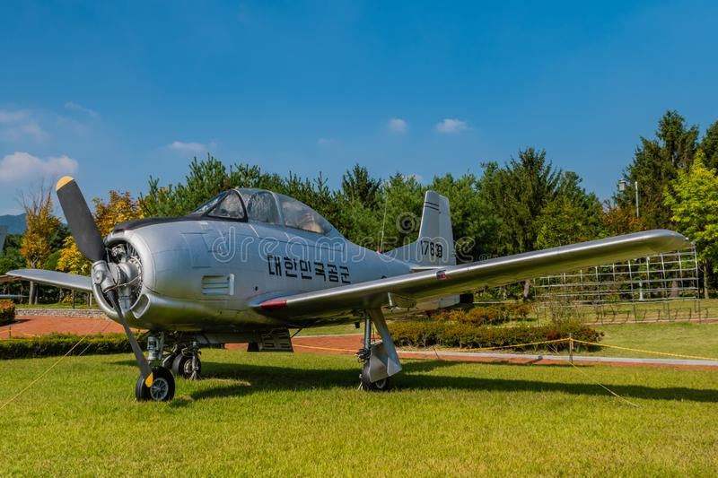 T-28A Trojan military aircraft. Daejeon, South Korea; September 29, 2019: North American Aviation T-28A Trojan military training aircraft on display at National stock photography