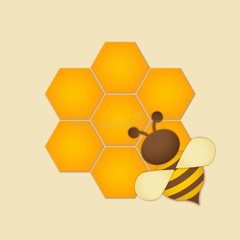 T?tulo superior da qualidade da etiqueta do mel Abelha cortada de papel do estilo com favos de mel e abelha Projeto do molde para ilustração stock