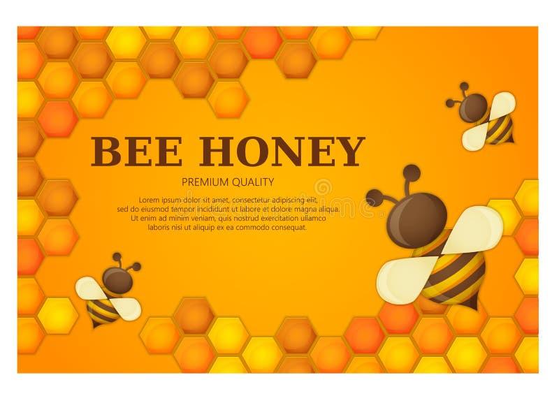 T?tulo superior de la calidad de la etiqueta de la miel Abeja cortada de papel del estilo con los panales y la abeja Dise?o de la stock de ilustración