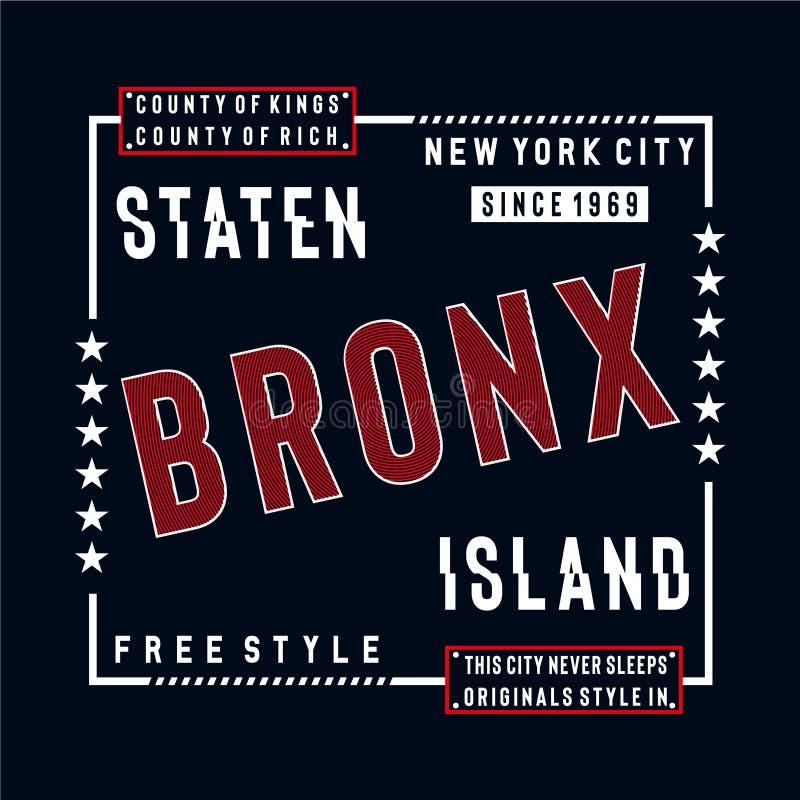 T typografhy do projeto do Staten Island livre do estilo para a camisa de t ilustração stock