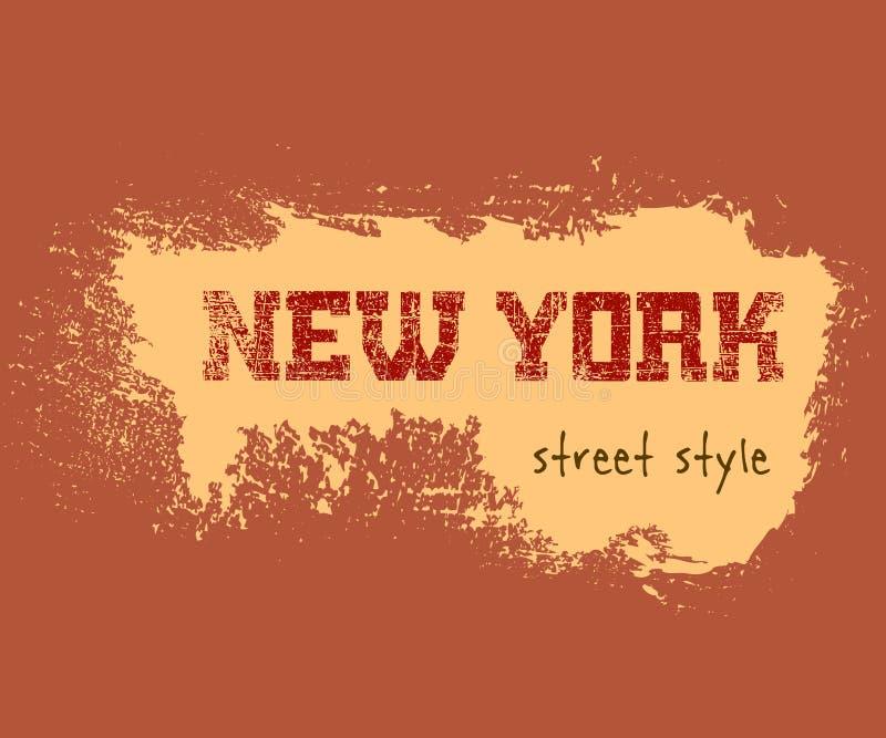 T typografii grafika Nowy Jork ulicy koszulowy styl ilustracji