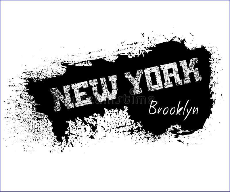 T typografii koszulowe grafika Nowy Jork Brooklyn ilustracja wektor