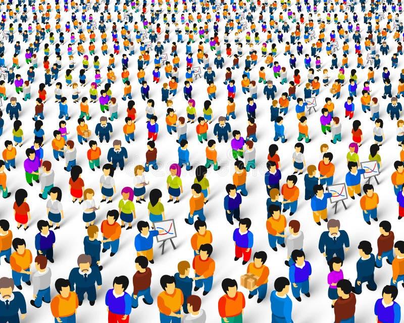 T?um ludzie na bia?ym tle, biznes pokrywa ilustracja wektor