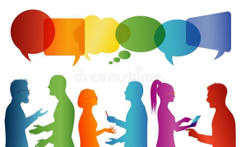 T?umu opowiada? Komunikacja mi?dzy grupa ludzi kt?ry opowiada Komunikuje og?lnospo?ecznego networking Dialog mi?dzy lud?mi _ royalty ilustracja