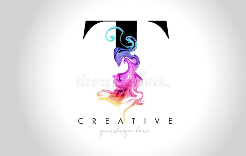 T vibrerande idérika Leter Logo Design med färgrikt rökfärgpulver Flo vektor illustrationer