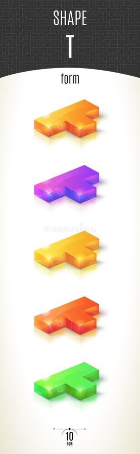 T-vorm glanzend 3D-deel op witte die achtergrond in verschillende kleuren wordt geplaatst royalty-vrije stock foto