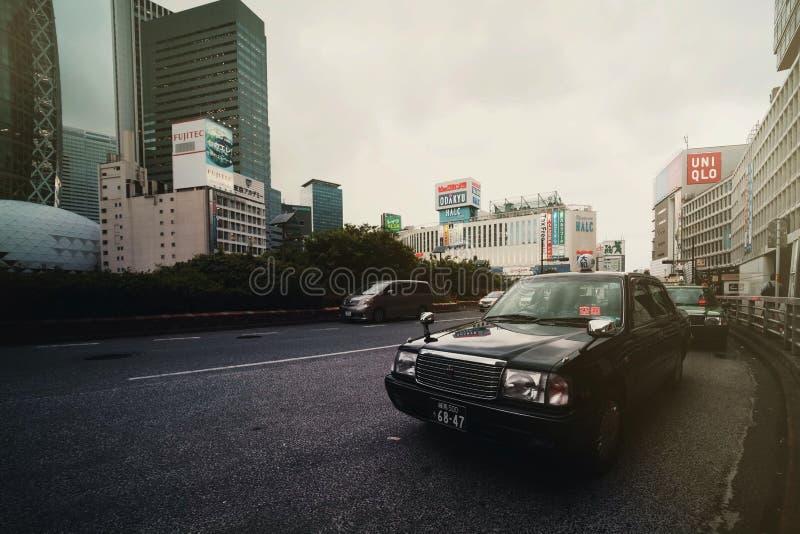 T?xi em Tokyo foto de stock