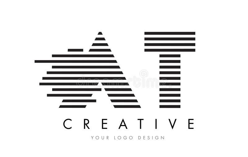 AT A T Zebra Letter Logo Design with Black and White Stripes stock illustration