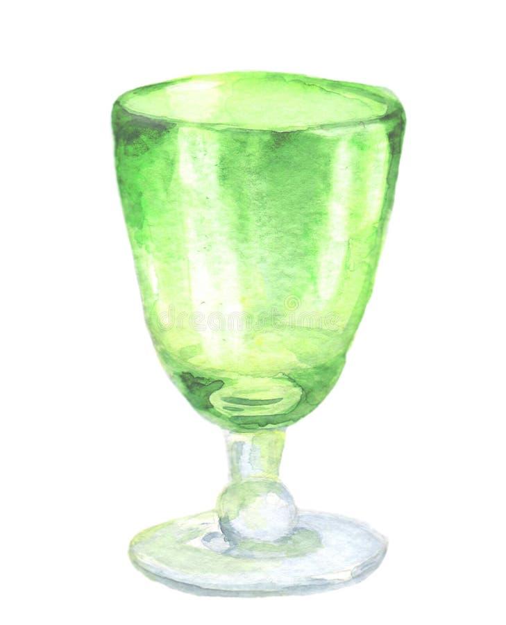 Taça do vidro verde da aquarela ilustração royalty free