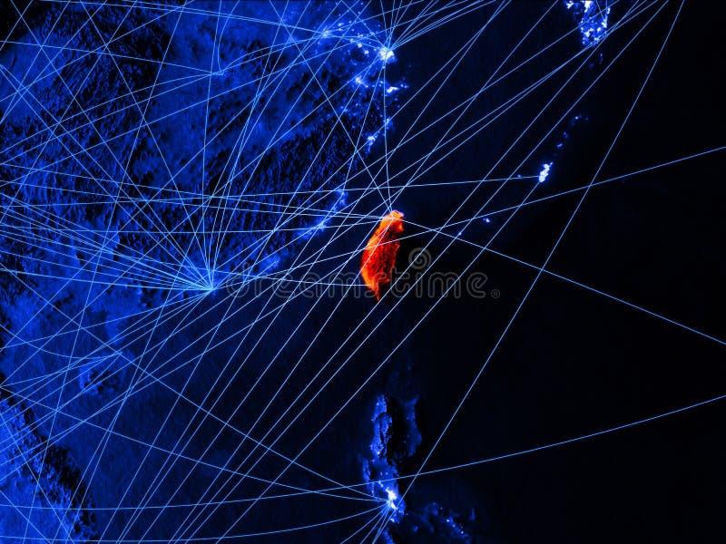 Taïwan sur la carte numérique bleue avec des réseaux Concept de voyage international, de communication et de technologie illustra illustration libre de droits