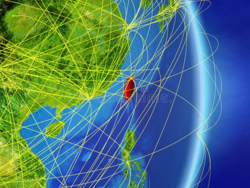 Taïwan sur terre de planète de planète avec le réseau Concept de connectivité, voyage et communication illustration 3D Éléments d illustration libre de droits