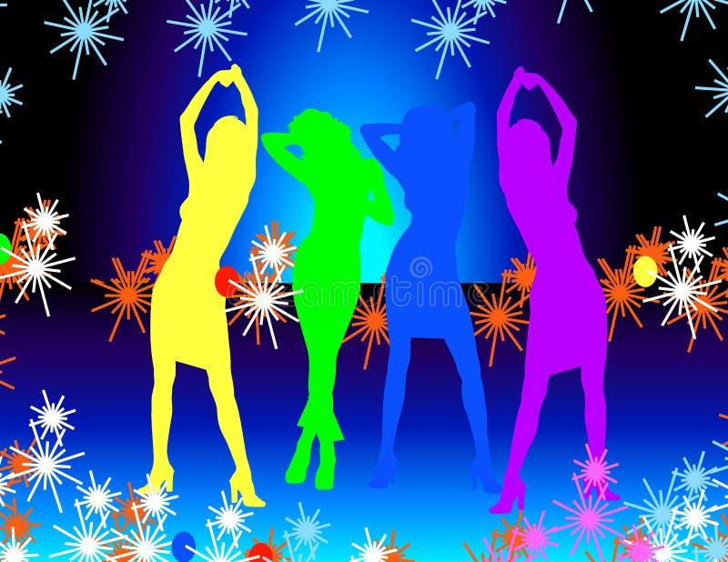 tańczące dziewczyny dyskotek ilustracja wektor