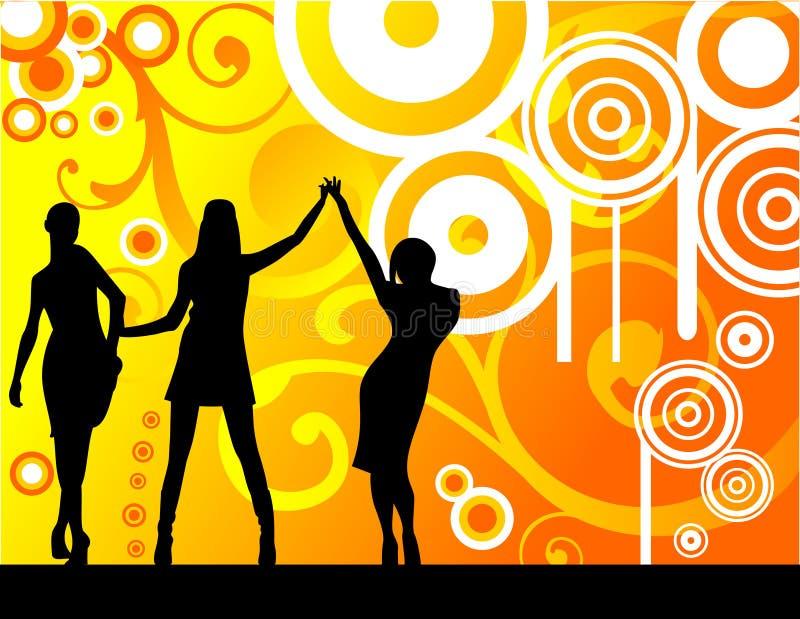 tańczące kobiety kwieciste ilustracji