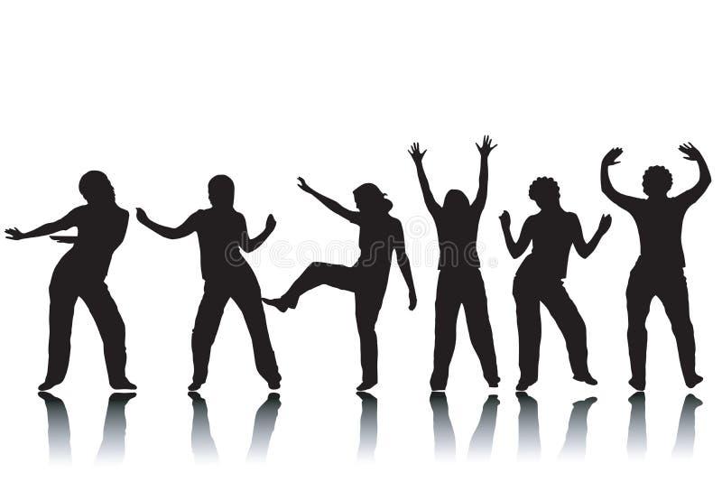 tańczące sylwetki royalty ilustracja