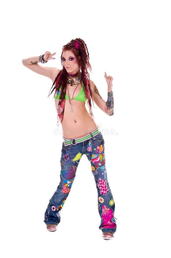tańczący dreadlock hipis dziewczyny obrazy stock