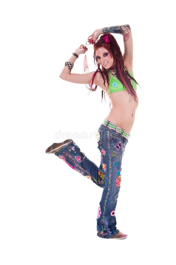 tańczący z impasu hipis dziewczyny obrazy stock