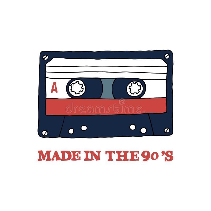 Taśma dźwiękowa z inskrypcją: ` Robić w 90's ` ilustracji