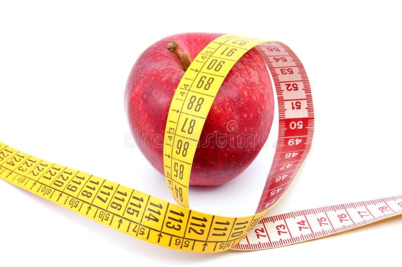 taśma jabłczany pomiarowy biel fotografia stock
