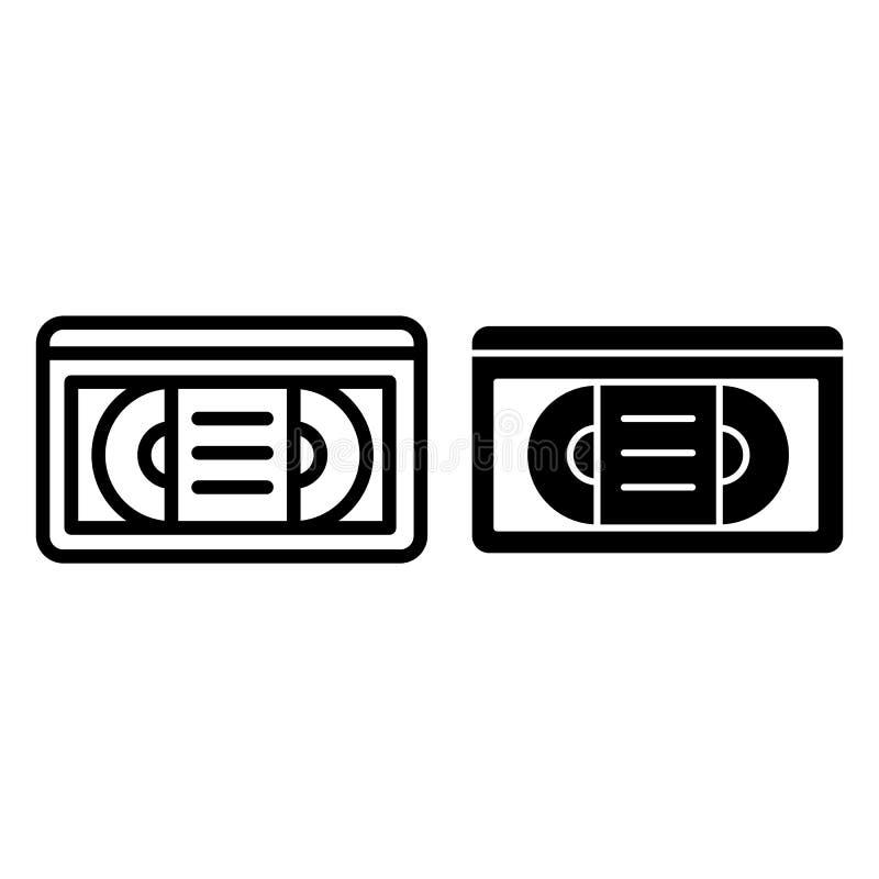 Taśma wideo linia i glif ikona Vhs taśmy wektorowa ilustracja odizolowywająca na bielu Retro wideo kasety konturu stylu projekt ilustracja wektor