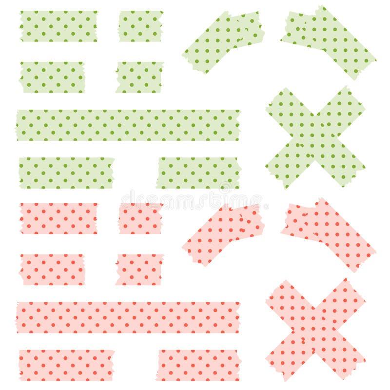 Taśma wskazujący wzór - zieleń i czerwień royalty ilustracja