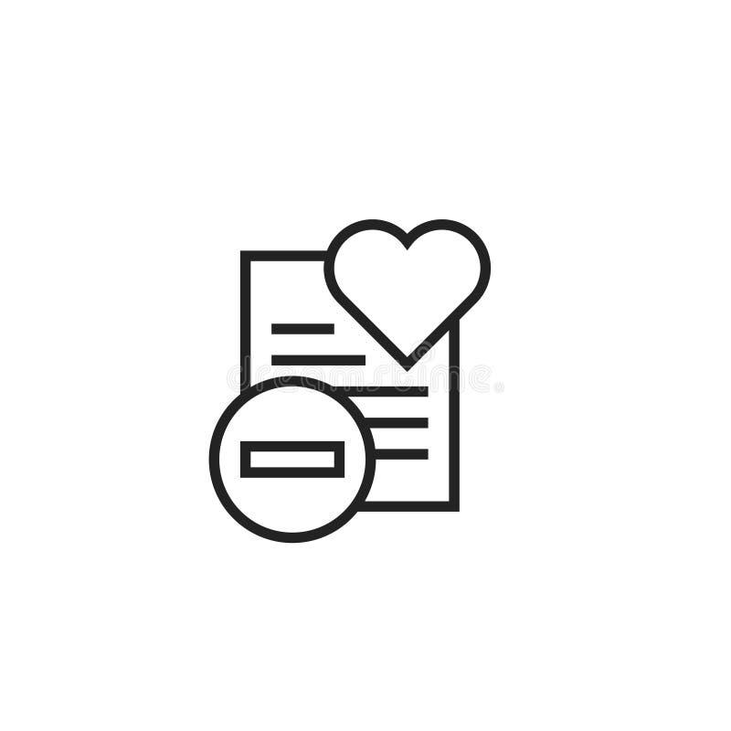 Ta bort från symbol, symbol eller logo för önskelistaöversiktsvektor stock illustrationer