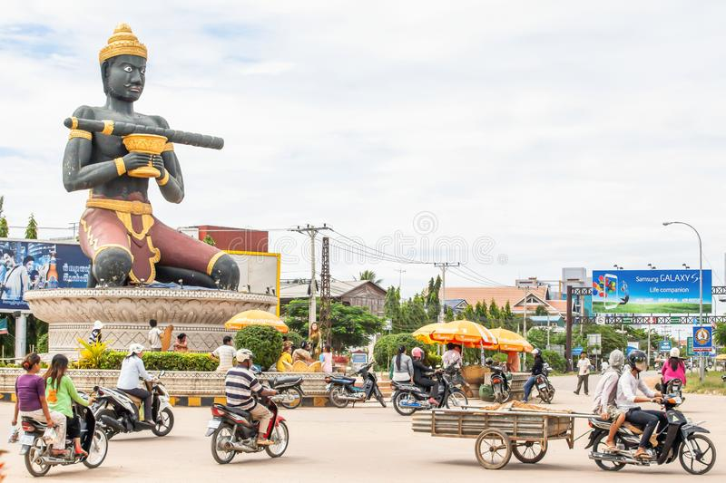 The Ta Dumbong Kro Nhong statue and Khmer people at roundabout of Battambang, Cambodia stock photos