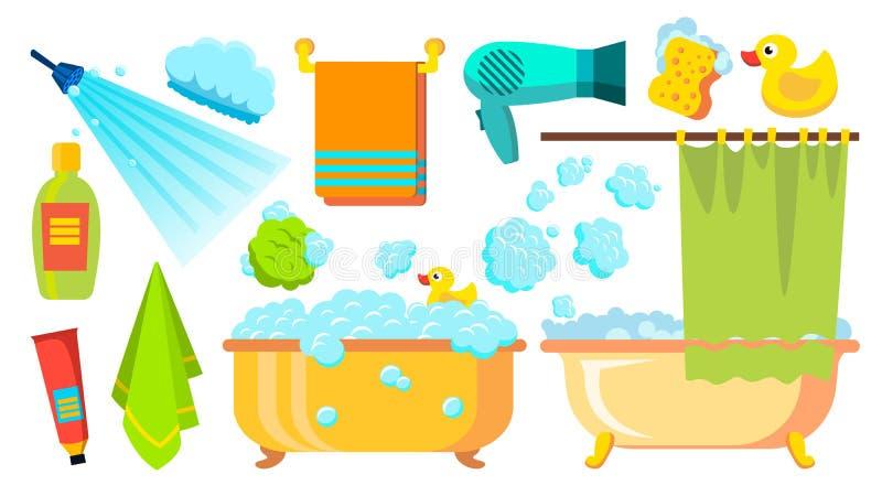 Ta en dusch, badsymbolsvektor Tillbehörhårtork, schampo, handduk, skum Isolerad plan tecknad filmillustration vektor illustrationer