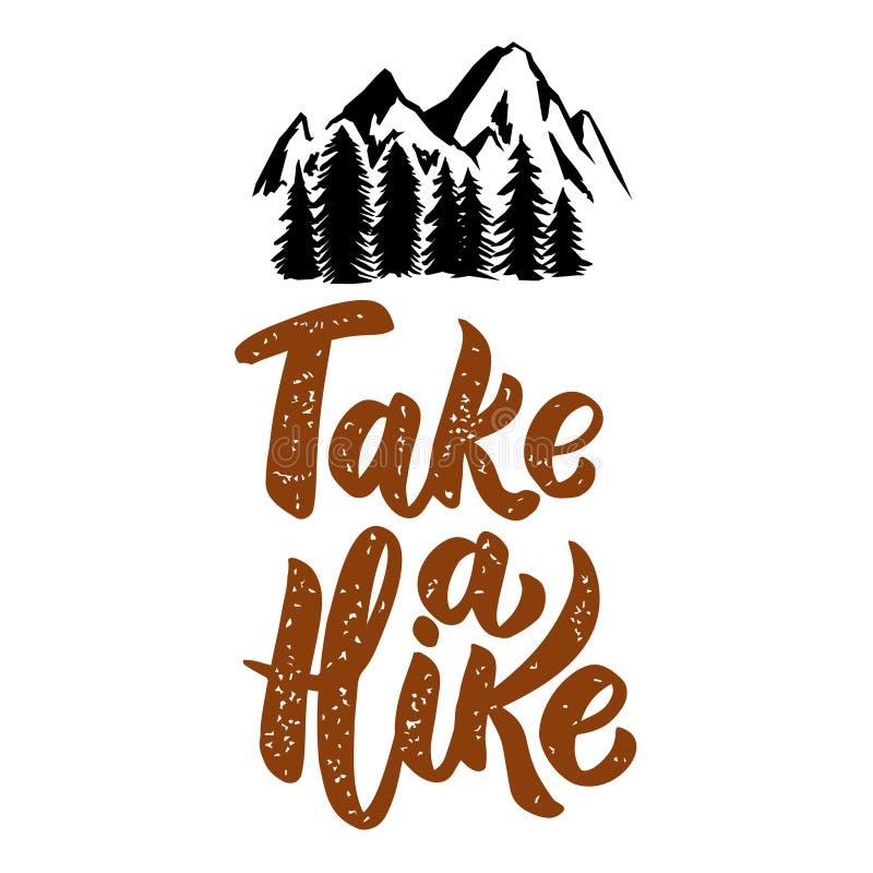 Ta en vandring Märka uttrycket som isoleras på vit bakgrund med berg Designbeståndsdel för affischen, meny, baner stock illustrationer