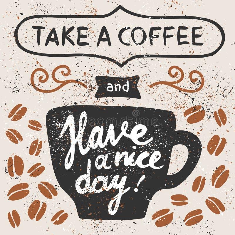 Ta ett kaffe stock illustrationer
