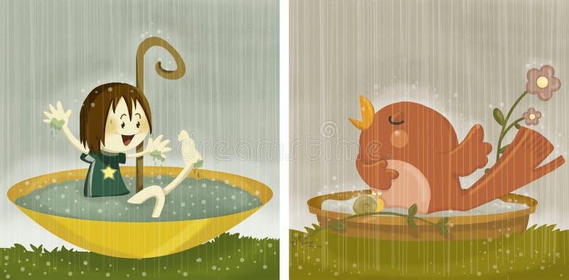 Ta ett regnbad vektor illustrationer