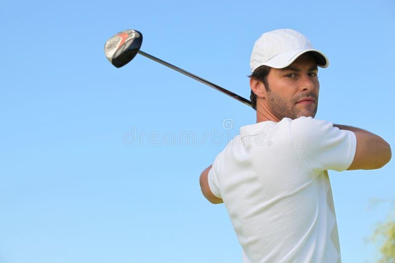 ta för golfareswing arkivfoton