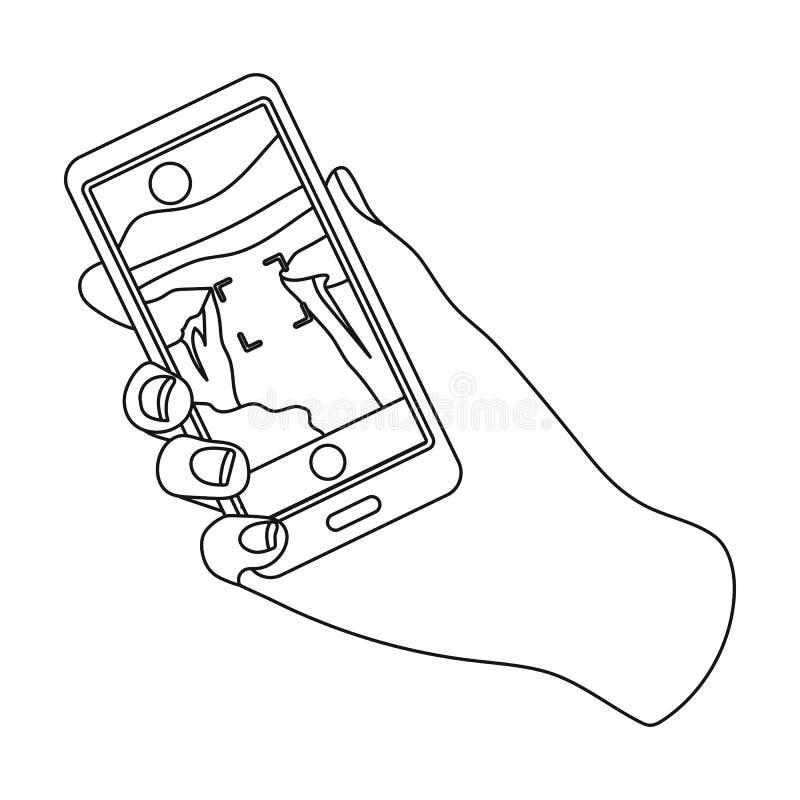 Ta fotoet på den smarta telefonsymbolen i översiktsstil som isoleras på vit bakgrund royaltyfri illustrationer
