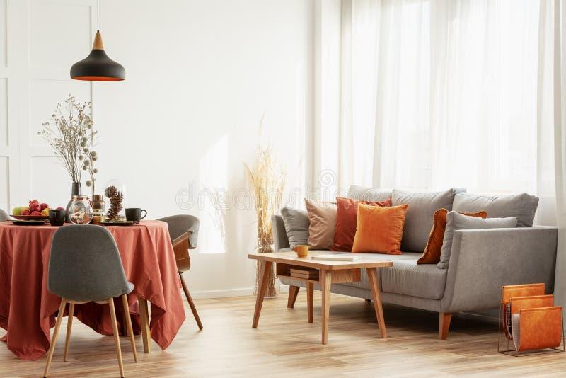 ?ta middag f?r ?ppet utrymme och bosatt omr?de med den gr?a scandinavian soffan och tabellen med stolar arkivbilder