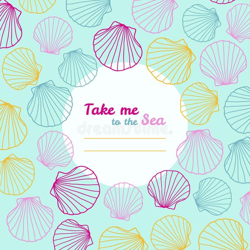 'Ta mig inbjudan till för havet' kopiera avstånd stock illustrationer