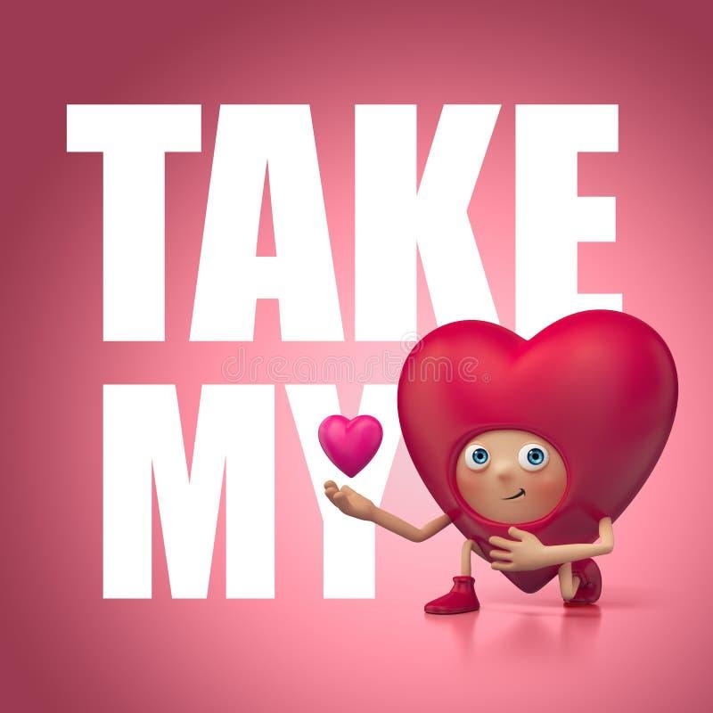 Ta min förälskelse och hjärta. Rolig tecknad film 3d royaltyfri illustrationer