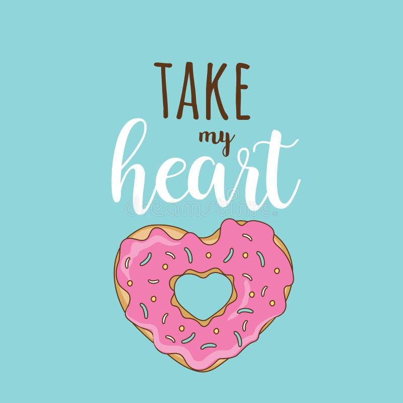 Ta min hjärtavektor Februari 14 royaltyfri illustrationer
