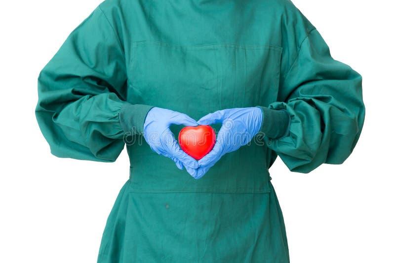 Ta omsorgbegreppet, kirurgdoktor i grön kappahandling till protec arkivfoton
