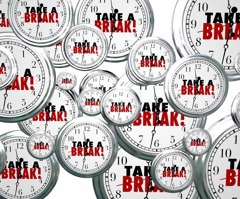 Ta ord för ett avbrott som flyger klockor, stopppaus somarbete vilar kopplar av P royaltyfri illustrationer