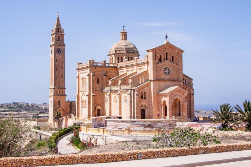 Ta Pinu教会,阿尔布村庄,戈佐岛,马耳他 库存照片