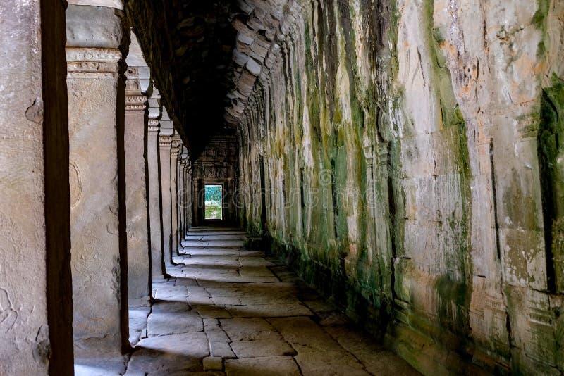 Detail of ancient door at Ta Prohm Angkor Wat Cambodia stock image