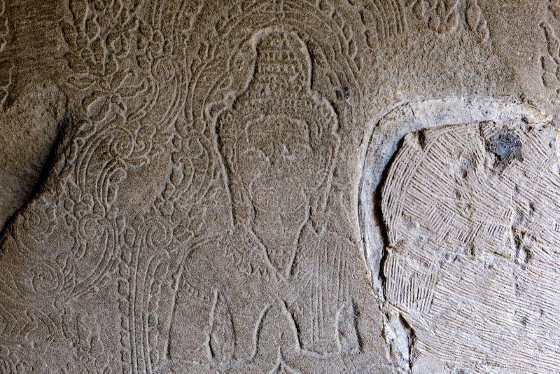 Detail of ancient door at Ta Prohm Angkor Wat Cambodia royalty free stock photos