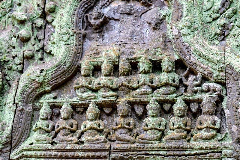 Detail of ancient door at Ta Prohm Angkor Wat Cambodia royalty free stock image