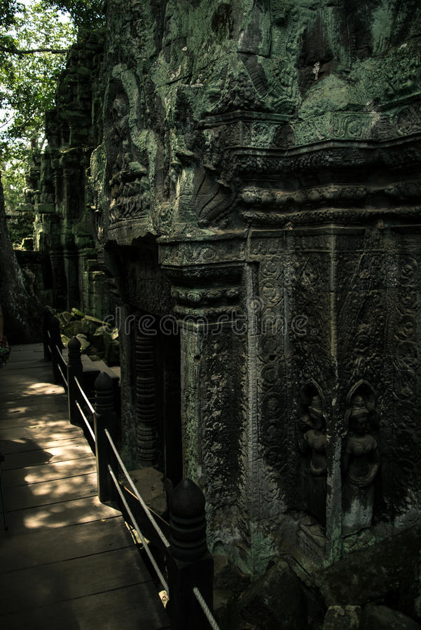 Ta Prohm temple. One of the Angkor temples in Cambodia, close to the city Siem Reap. Not far from the famous Angkor Wat. The temple seems lost in a jungle and royalty free stock images