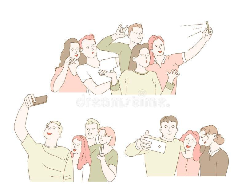 Ta selfie på smartphoneklasskompisar som samlar, och vänmöte royaltyfri illustrationer